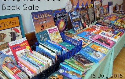 1000 Book Sale + stalls – this morning Sat 16 July, 9am to noon